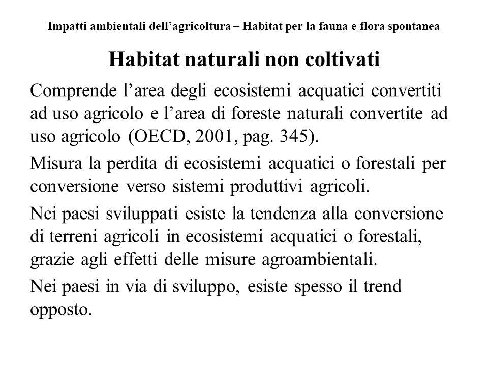 Impatti ambientali dellagricoltura – Habitat per la fauna e flora spontanea Habitat naturali non coltivati Comprende larea degli ecosistemi acquatici