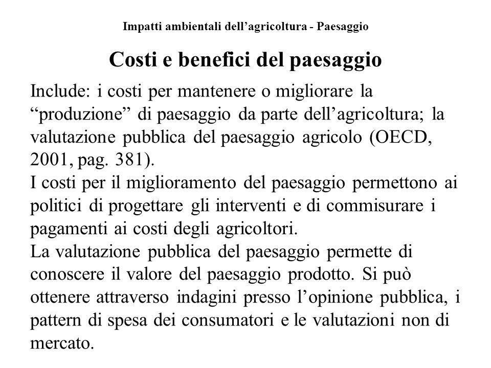 Impatti ambientali dellagricoltura - Paesaggio Costi e benefici del paesaggio Include: i costi per mantenere o migliorare la produzione di paesaggio d