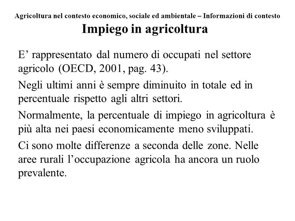 Impiego in agricoltura E rappresentato dal numero di occupati nel settore agricolo (OECD, 2001, pag. 43). Negli ultimi anni è sempre diminuito in tota