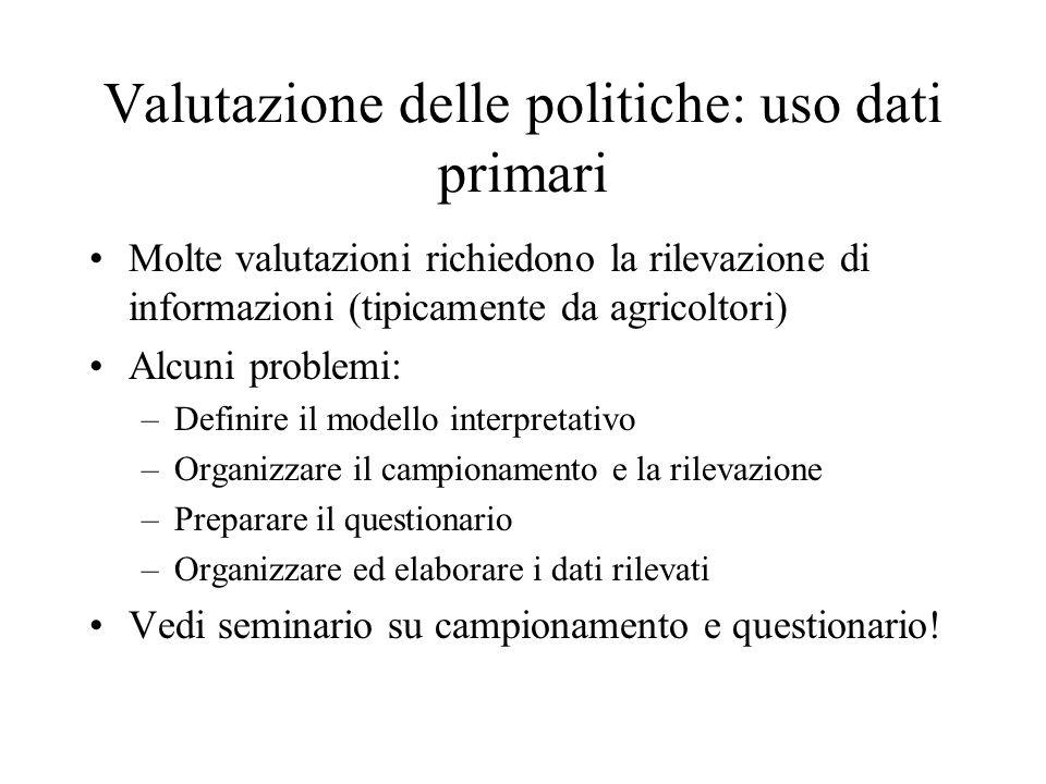 Valutazione delle politiche: uso dati primari Molte valutazioni richiedono la rilevazione di informazioni (tipicamente da agricoltori) Alcuni problemi