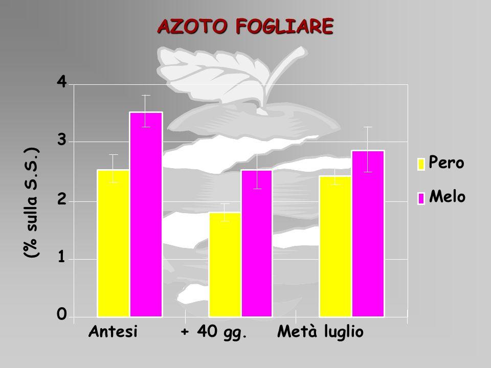 AZOTO FOGLIARE 0 1 2 3 4 (% sulla S.S.) Pero Melo Antesi + 40 gg. Metà luglio