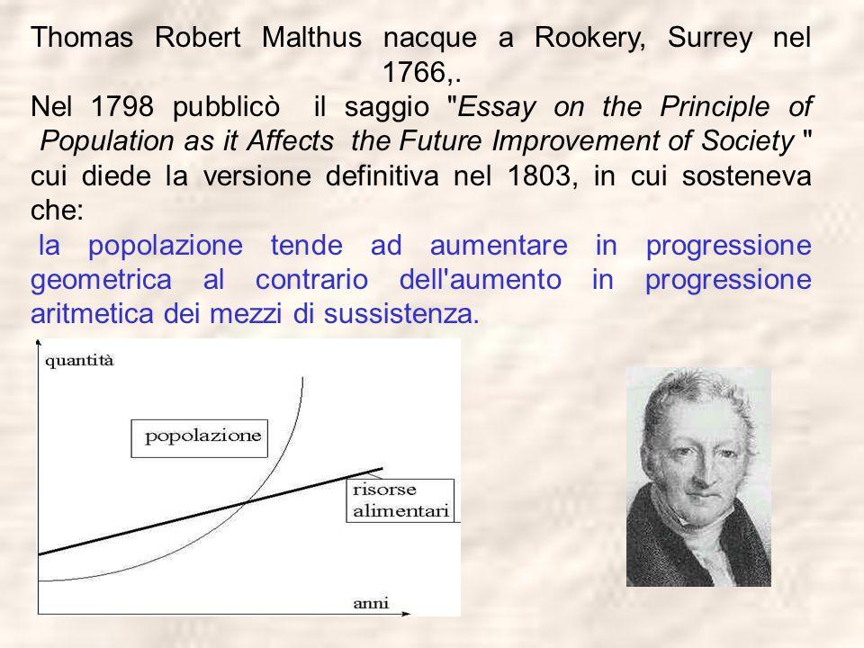 Thomas Robert Malthus nacque a Rookery, Surrey nel 1766,. Nel 1798 pubblicò il saggio