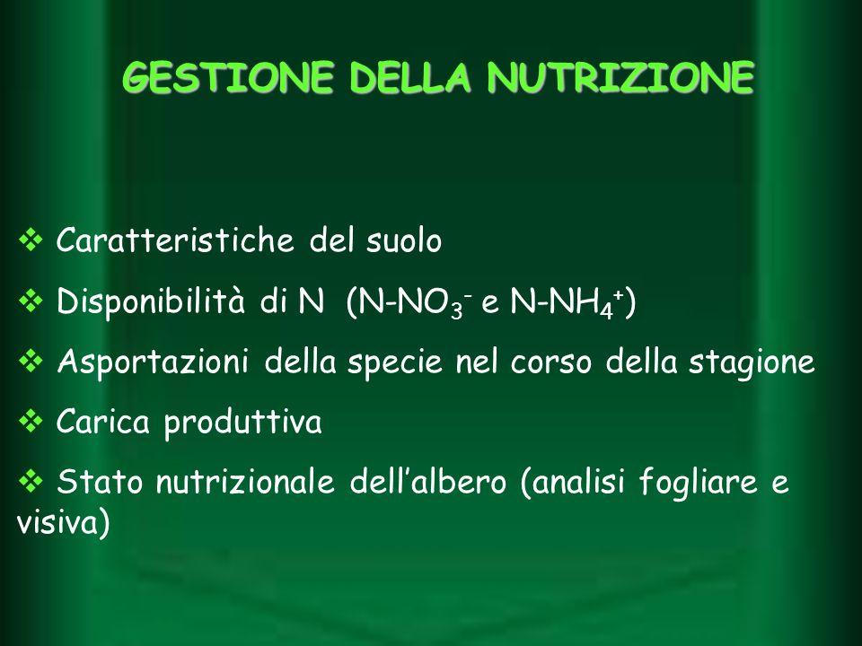 GESTIONE DELLA NUTRIZIONE Caratteristiche del suolo Disponibilità di N (N-NO 3 - e N-NH 4 + ) Asportazioni della specie nel corso della stagione Caric
