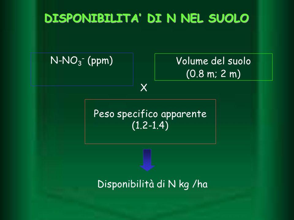 DISPONIBILITA DI N NEL SUOLO N-NO 3 - (ppm) Volume del suolo (0.8 m; 2 m) Peso specifico apparente (1.2-1.4) Disponibilità di N kg /ha X