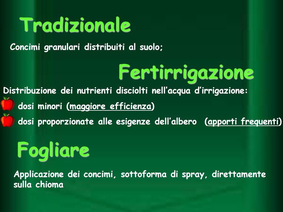 Tradizionale Concimi granulari distribuiti al suolo; Fogliare Applicazione dei concimi, sottoforma di spray, direttamente sulla chioma Distribuzione d