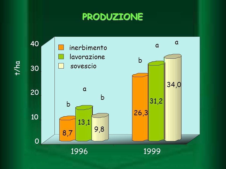 PRODUZIONE 19961999 0 10 20 30 40 inerbimento lavorazione sovescio t/ha a a a b b b 8,7 9,8 13,1 31,2 34,0 26,3