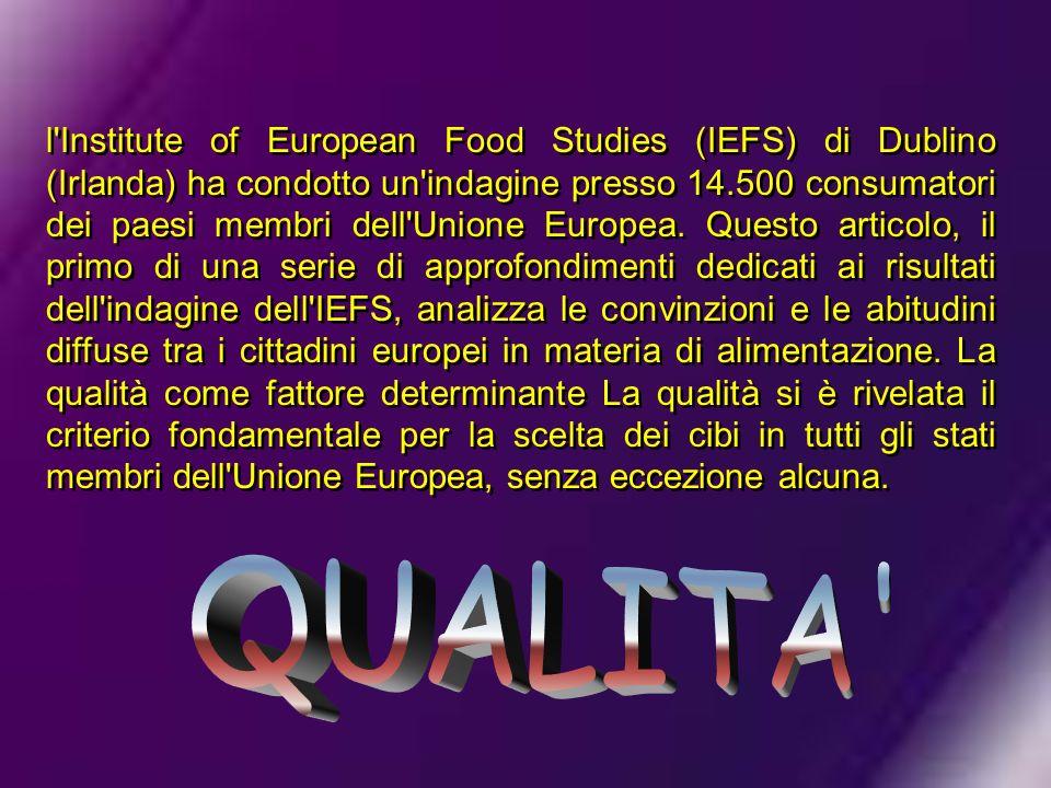 l'Institute of European Food Studies (IEFS) di Dublino (Irlanda) ha condotto un'indagine presso 14.500 consumatori dei paesi membri dell'Unione Europe