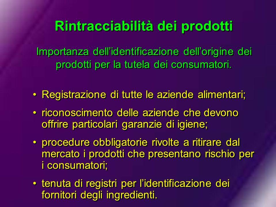 Rintracciabilità dei prodotti Importanza dellidentificazione dellorigine dei prodotti per la tutela dei consumatori. Registrazione di tutte le aziende
