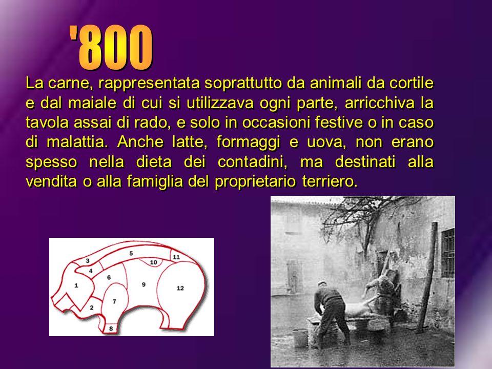 La carne, rappresentata soprattutto da animali da cortile e dal maiale di cui si utilizzava ogni parte, arricchiva la tavola assai di rado, e solo in