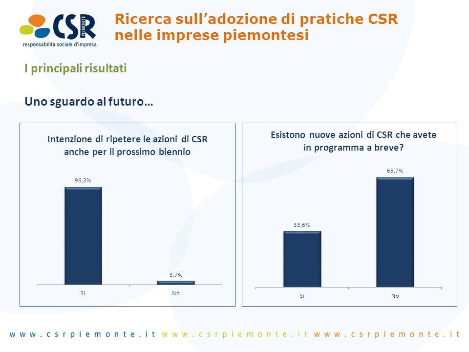 I principali risultati Uno sguardo al futuro… Ricerca sulladozione di pratiche CSR nelle imprese piemontesi