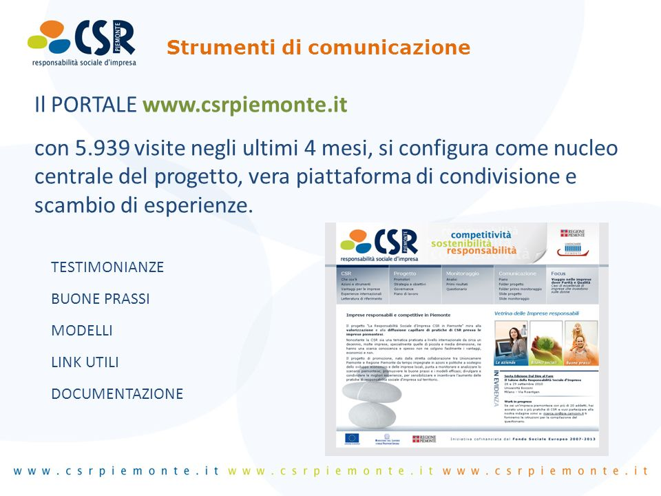 Il PORTALE www.csrpiemonte.it con 5.939 visite negli ultimi 4 mesi, si configura come nucleo centrale del progetto, vera piattaforma di condivisione e scambio di esperienze.