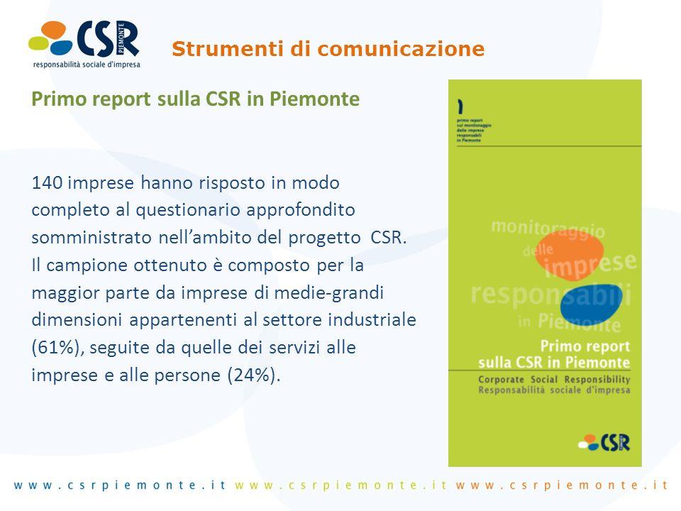 Primo report sulla CSR in Piemonte 140 imprese hanno risposto in modo completo al questionario approfondito somministrato nellambito del progetto CSR.