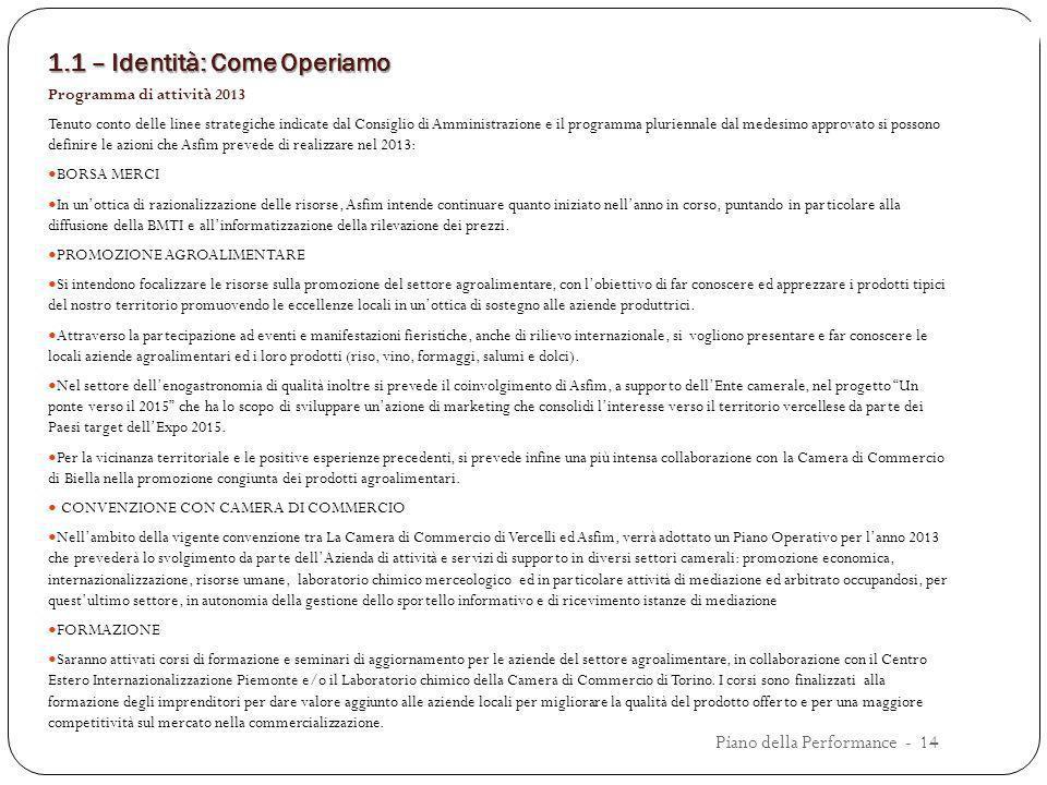 1.1 – Identità: Come Operiamo Programma di attività 2013 Tenuto conto delle linee strategiche indicate dal Consiglio di Amministrazione e il programma