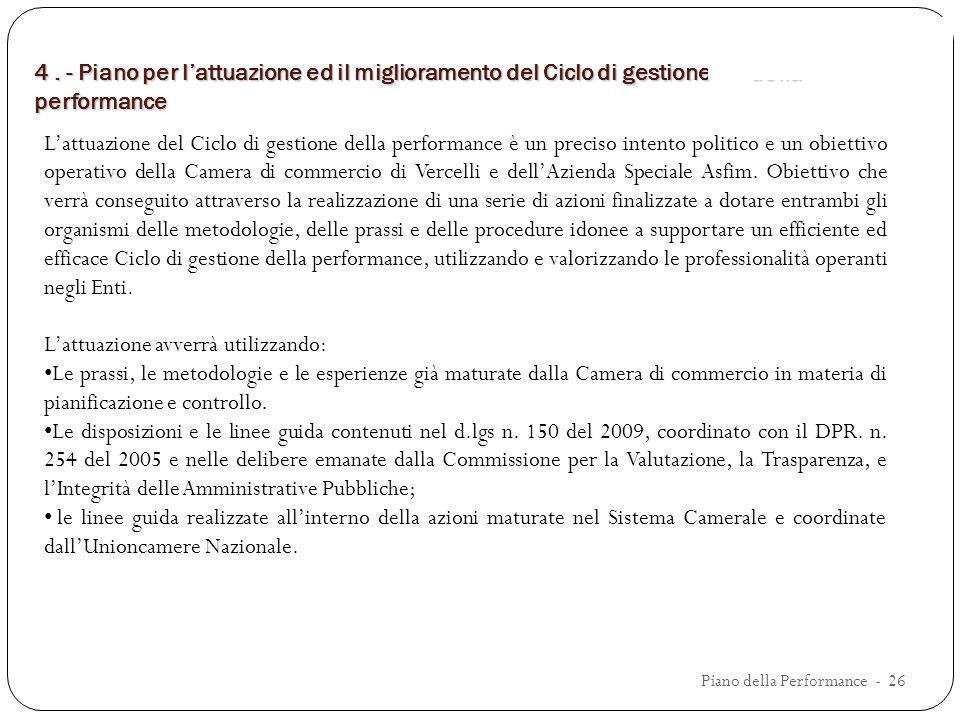 4. - Piano per lattuazione ed il miglioramentodel Ciclo di gestione della performance 4. - Piano per lattuazione ed il miglioramento del Ciclo di gest