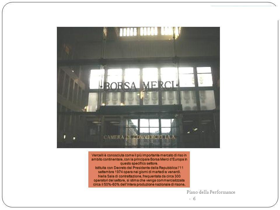 La nuova provincia di Vercelli a seguito dello scorporo da Biella Con decreto legislativo 6 marzo 1992, n.248 nasce la provincia di Biella e nel 1994 si insedia, dividendosi da Vercelli,la Camera di commercio, industria, artigianato e agricoltura Piano della Performance - 7