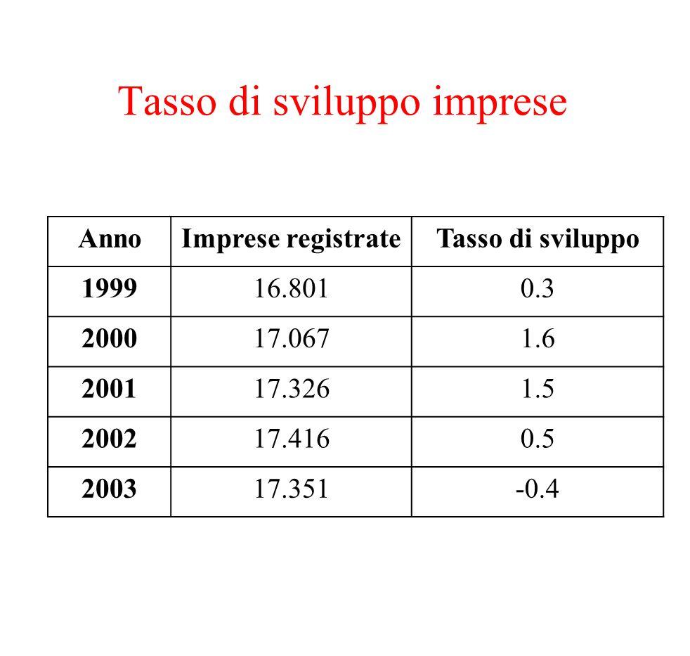 Tasso di sviluppo imprese AnnoImprese registrateTasso di sviluppo 199916.8010.3 200017.0671.6 200117.3261.5 200217.4160.5 200317.351-0.4