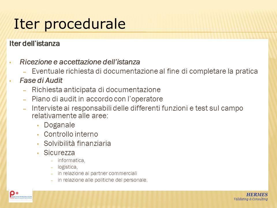 Iter dellistanza Ricezione e accettazione dellistanza – Eventuale richiesta di documentazione al fine di completare la pratica Fase di Audit – Richies