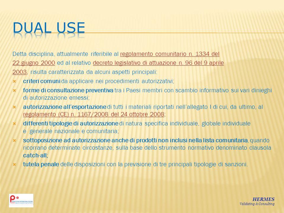Detta disciplina, attualmente riferibile al regolamento comunitario n. 1334 delregolamento comunitario n. 1334 del 22 giugno 200022 giugno 2000 ed al