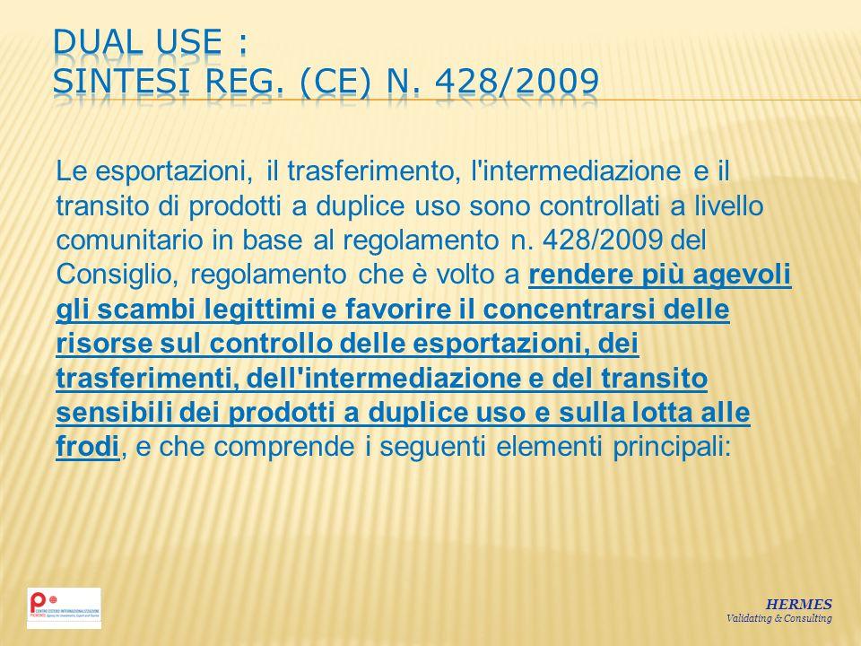 HERMES Validating & Consulting Le esportazioni, il trasferimento, l'intermediazione e il transito di prodotti a duplice uso sono controllati a livello