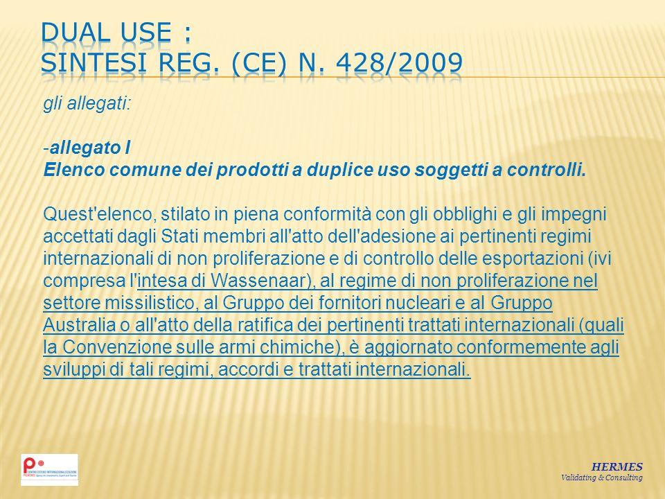 HERMES Validating & Consulting gli allegati: -allegato I Elenco comune dei prodotti a duplice uso soggetti a controlli. Quest'elenco, stilato in piena
