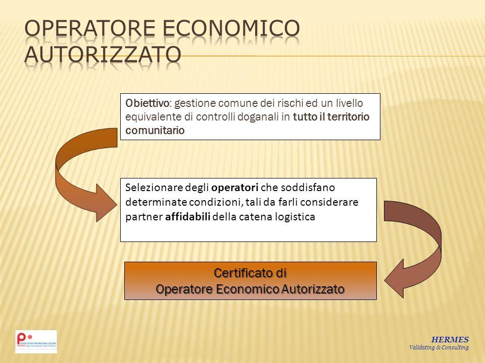 Obiettivo: gestione comune dei rischi ed un livello equivalente di controlli doganali in tutto il territorio comunitario Selezionare degli operatori c