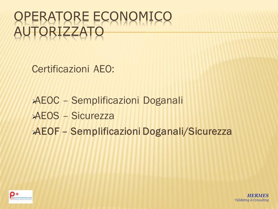 Certificazioni AEO: AEOC – Semplificazioni Doganali AEOS – Sicurezza AEOF – Semplificazioni Doganali/Sicurezza HERMES Validating & Consulting