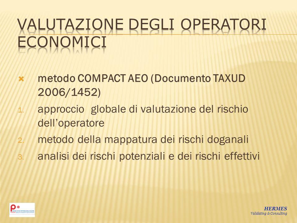 metodo COMPACT AEO (Documento TAXUD 2006/1452) 1. approccio globale di valutazione del rischio delloperatore 2. metodo della mappatura dei rischi doga