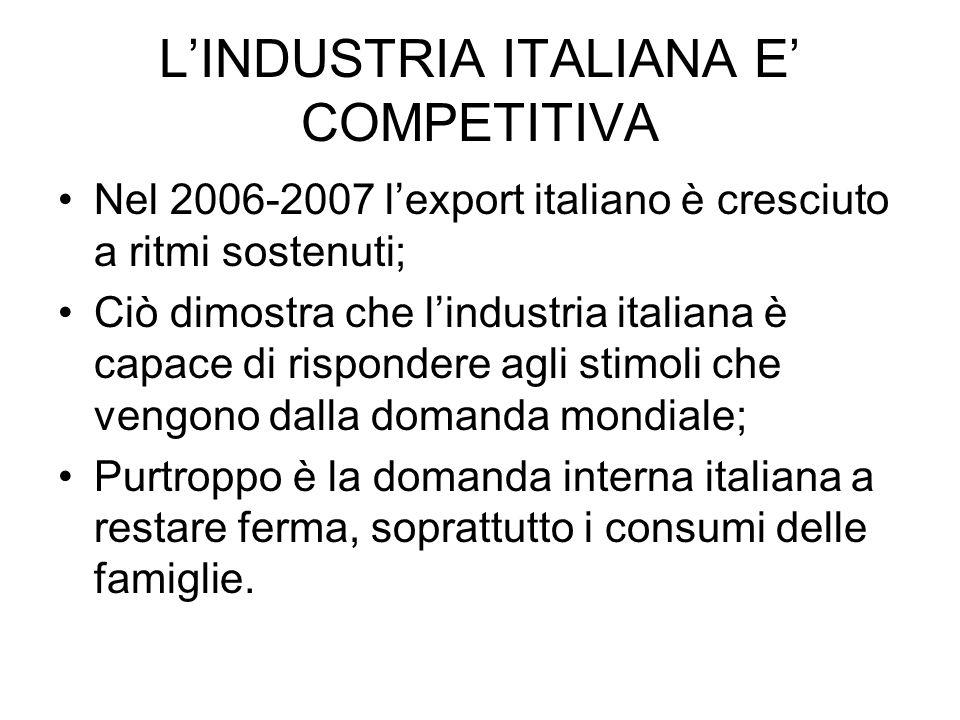 LINDUSTRIA ITALIANA E COMPETITIVA Nel 2006-2007 lexport italiano è cresciuto a ritmi sostenuti; Ciò dimostra che lindustria italiana è capace di rispo