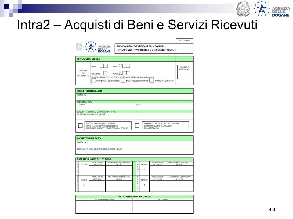 10 Intra2 – Acquisti di Beni e Servizi Ricevuti