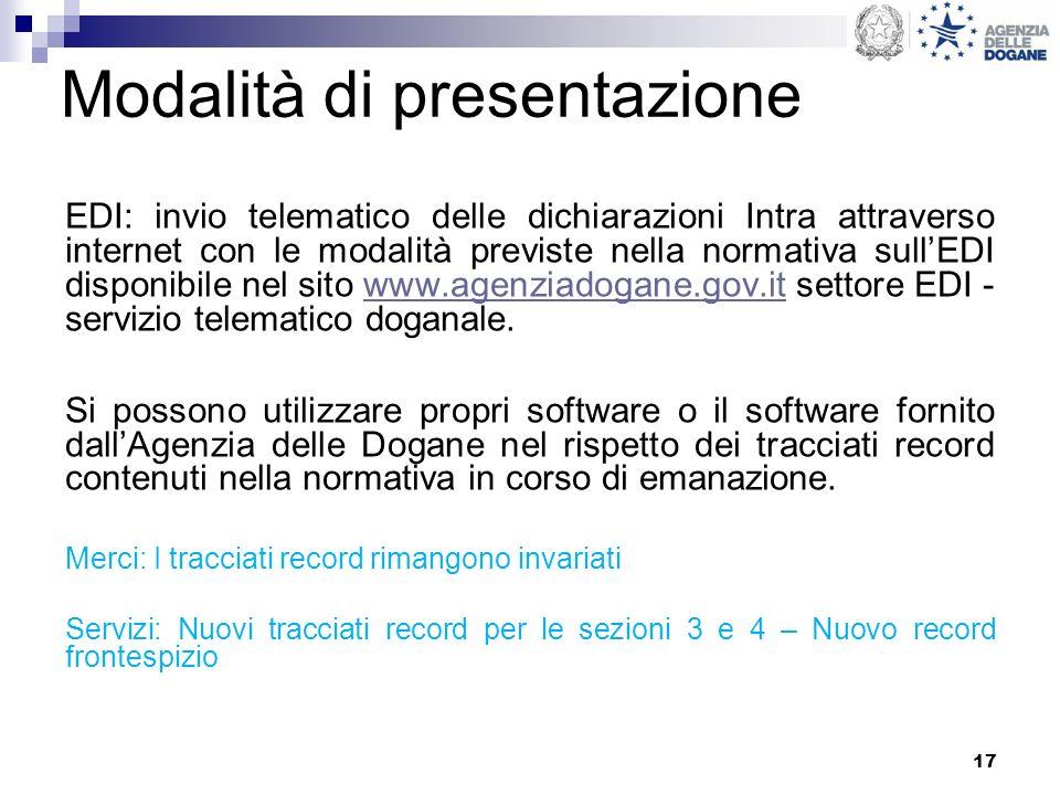 17 Modalità di presentazione EDI: invio telematico delle dichiarazioni Intra attraverso internet con le modalità previste nella normativa sullEDI disp