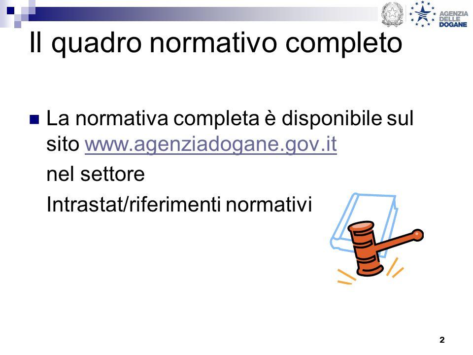 2 Il quadro normativo completo La normativa completa è disponibile sul sito www.agenziadogane.gov.itwww.agenziadogane.gov.it nel settore Intrastat/riferimenti normativi