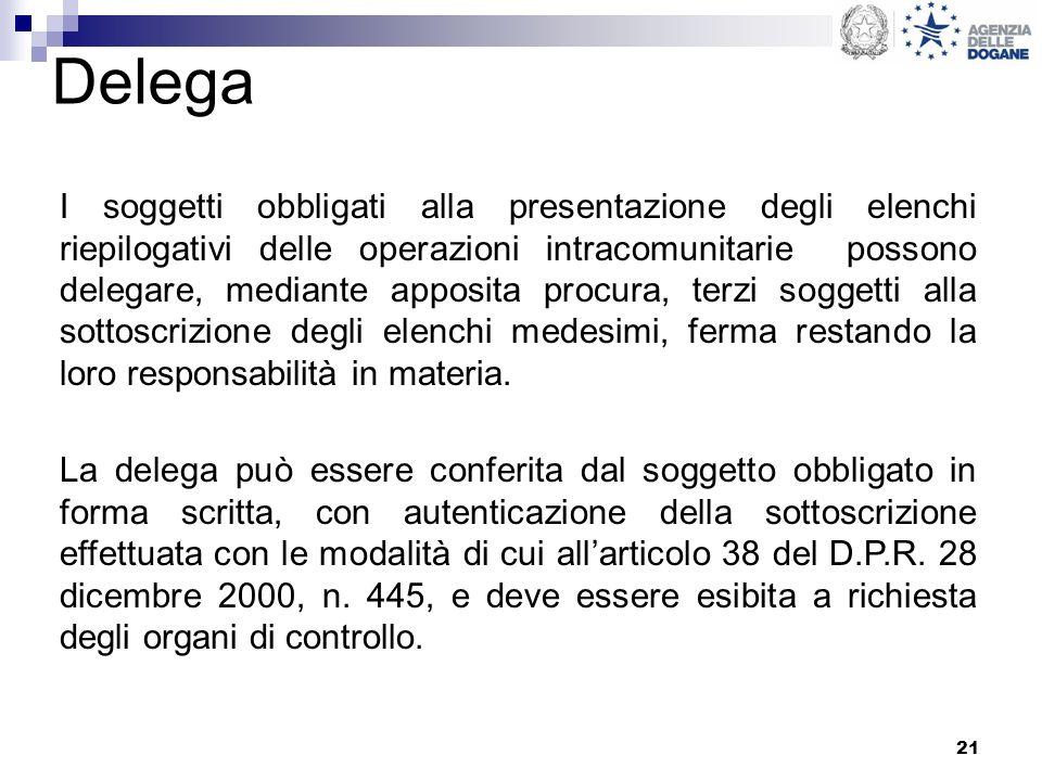 21 Delega I soggetti obbligati alla presentazione degli elenchi riepilogativi delle operazioni intracomunitarie possono delegare, mediante apposita pr