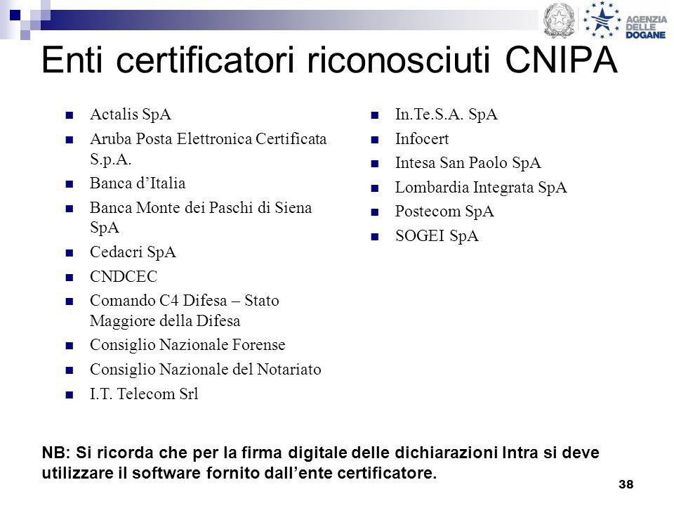 38 Enti certificatori riconosciuti CNIPA Actalis SpA Aruba Posta Elettronica Certificata S.p.A. Banca dItalia Banca Monte dei Paschi di Siena SpA Ceda