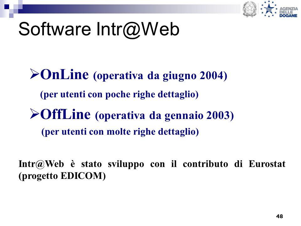 48 Software Intr@Web OnLine (operativa da giugno 2004) (per utenti con poche righe dettaglio) OffLine (operativa da gennaio 2003) (per utenti con molte righe dettaglio) Intr@Web è stato sviluppo con il contributo di Eurostat (progetto EDICOM)
