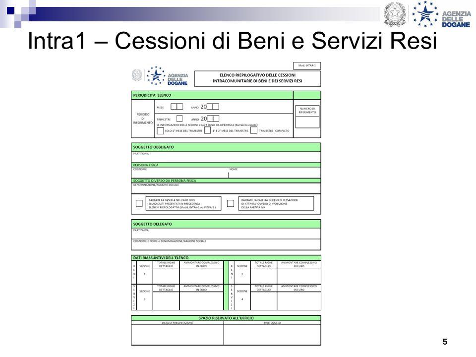 5 Intra1 – Cessioni di Beni e Servizi Resi
