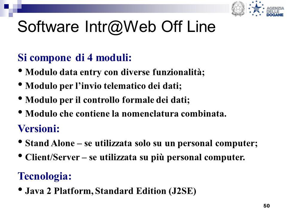 50 Software Intr@Web Off Line Si compone di 4 moduli: Modulo data entry con diverse funzionalità; Modulo per linvio telematico dei dati; Modulo per il controllo formale dei dati; Modulo che contiene la nomenclatura combinata.