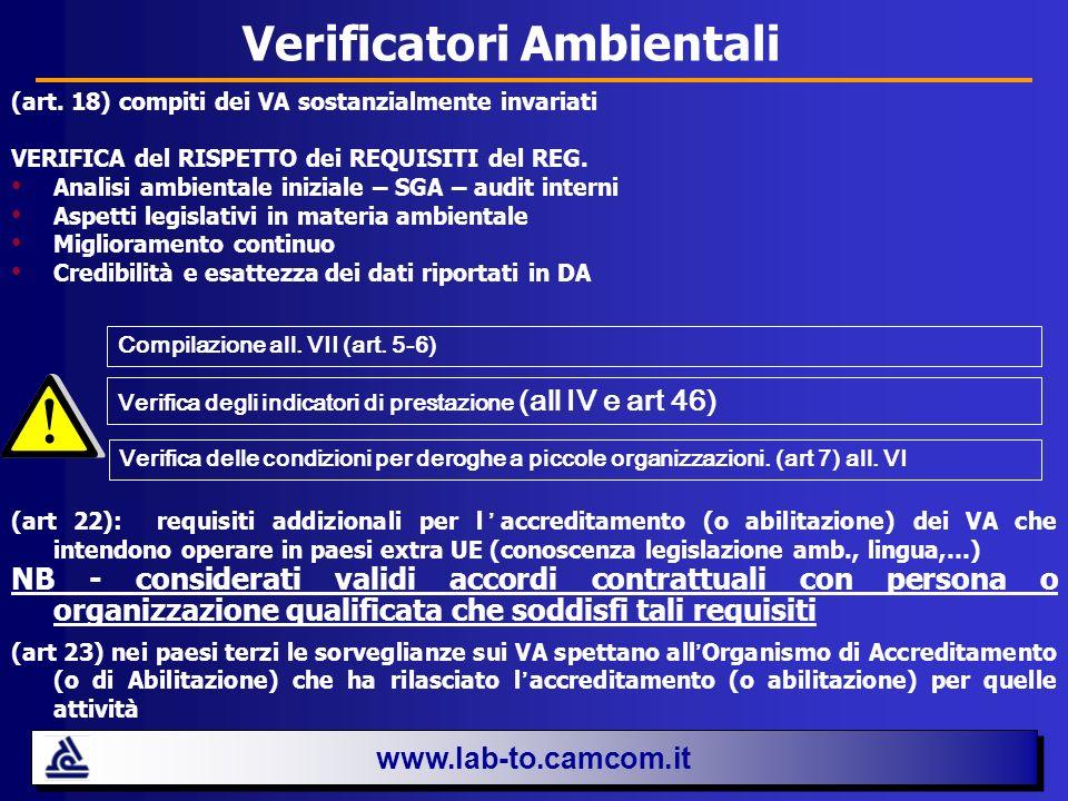 Verificatori Ambientali (art. 18) compiti dei VA sostanzialmente invariati VERIFICA del RISPETTO dei REQUISITI del REG. Analisi ambientale iniziale –