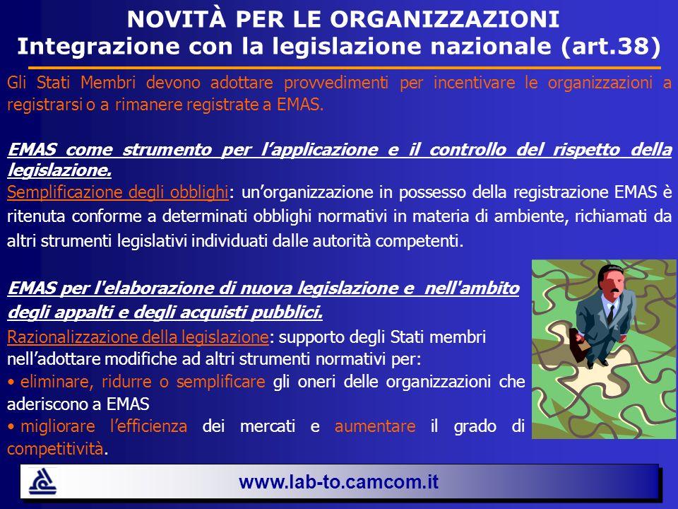 www.lab-to.camcom.it NOVITÀ PER LE ORGANIZZAZIONI Integrazione con la legislazione nazionale (art.38) Gli Stati Membri devono adottare provvedimenti p