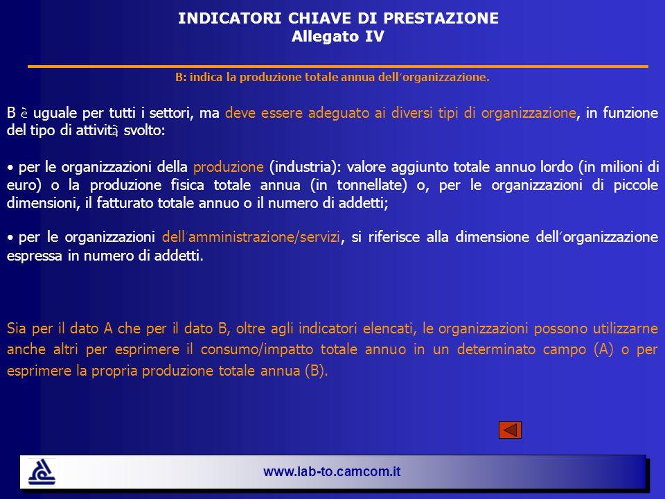 www.lab-to.camcom.it INDICATORI CHIAVE DI PRESTAZIONE Allegato IV B: indica la produzione totale annua dell organizzazione. B è uguale per tutti i set