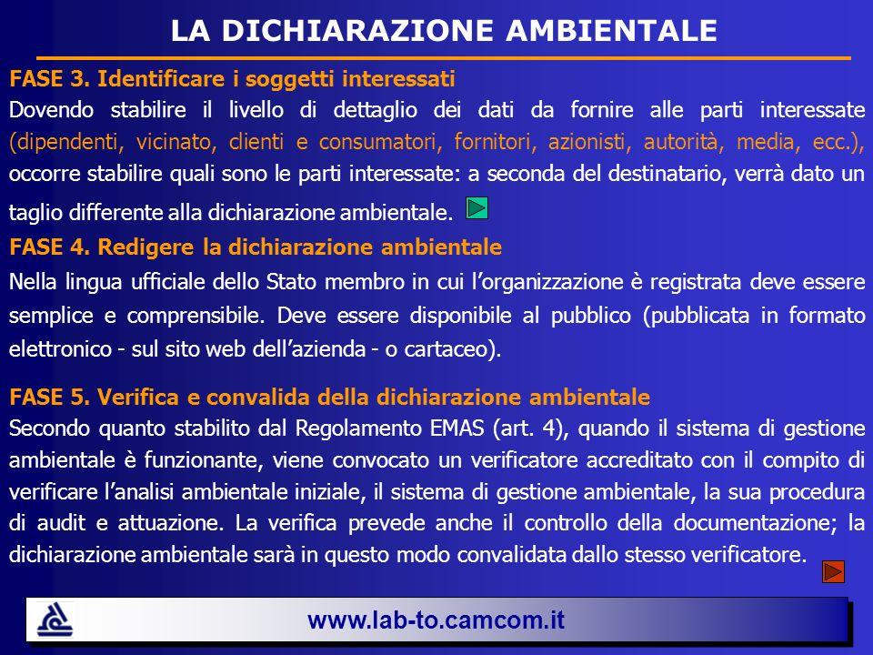 www.lab-to.camcom.it LA DICHIARAZIONE AMBIENTALE FASE 3. Identificare i soggetti interessati Dovendo stabilire il livello di dettaglio dei dati da for