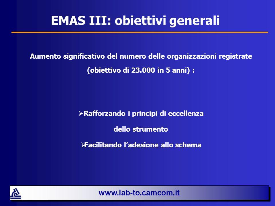 NOVITÀ DEL REGOLAMENTO EMAS III EMAS III presenta importanti novità: 1.