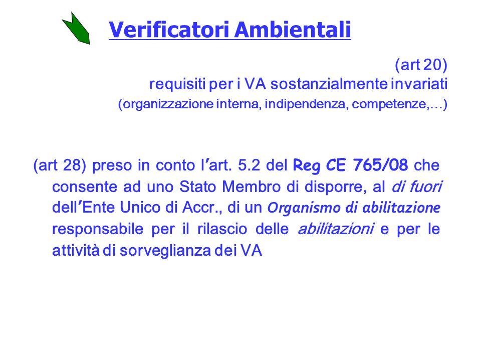 Verificatori Ambientali (art 28) preso in conto lart.