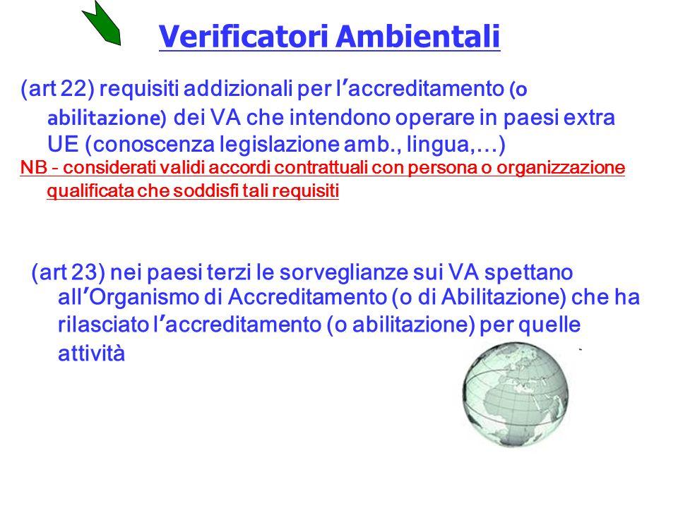 (art 22) requisiti addizionali per laccreditamento (o abilitazione) dei VA che intendono operare in paesi extra UE (conoscenza legislazione amb., lingua,…) NB - considerati validi accordi contrattuali con persona o organizzazione qualificata che soddisfi tali requisiti (art 23) nei paesi terzi le sorveglianze sui VA spettano allOrganismo di Accreditamento (o di Abilitazione) che ha rilasciato laccreditamento (o abilitazione) per quelle attività Verificatori Ambientali