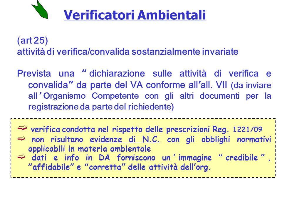 (art 25) attività di verifica/convalida sostanzialmente invariate Prevista una dichiarazione sulle attività di verifica e convalida da parte del VA conforme allall.