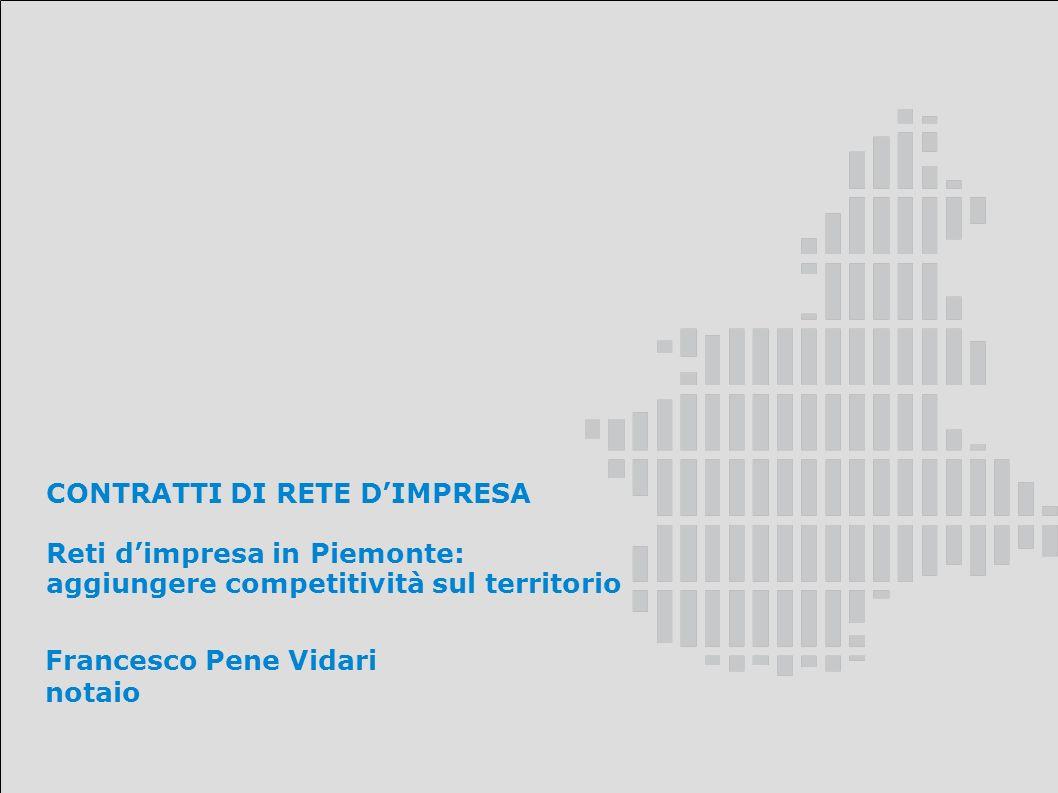 CONTRATTI DI RETE DIMPRESA Reti dimpresa in Piemonte: aggiungere competitività sul territorio Francesco Pene Vidari notaio