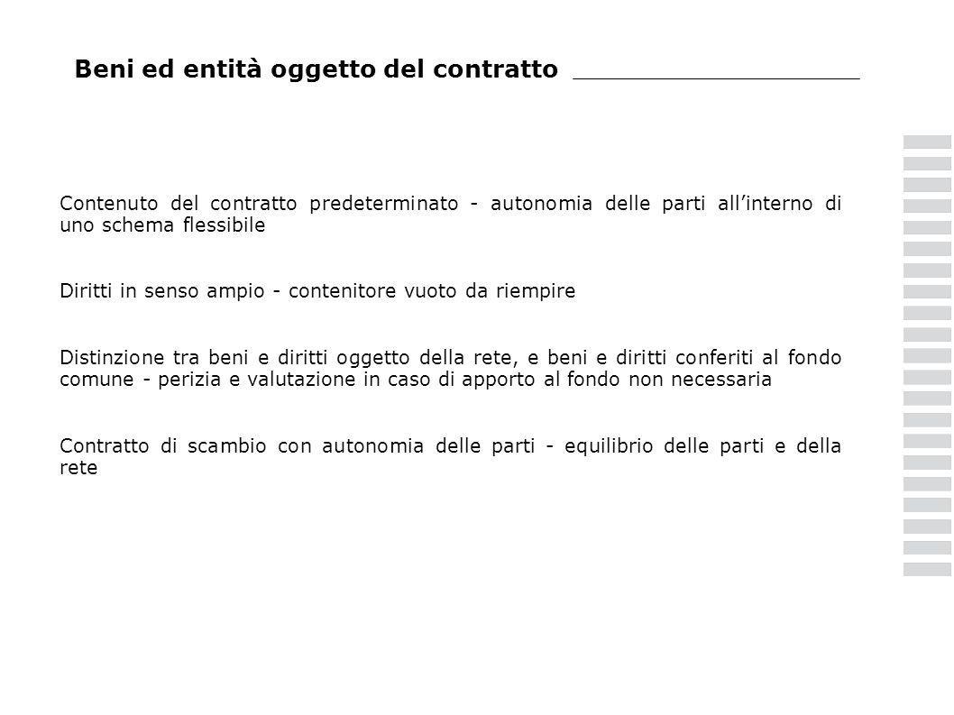 Beni ed entità oggetto del contratto Contenuto del contratto predeterminato - autonomia delle parti allinterno di uno schema flessibile Diritti in sen