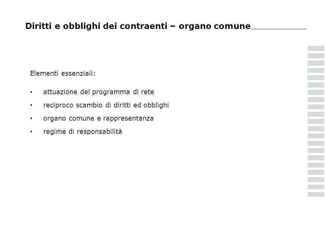 Diritti e obblighi dei contraenti – organo comune Elementi essenziali: attuazione del programma di rete reciproco scambio di diritti ed obblighi organo comune e rappresentanza regime di responsabilità