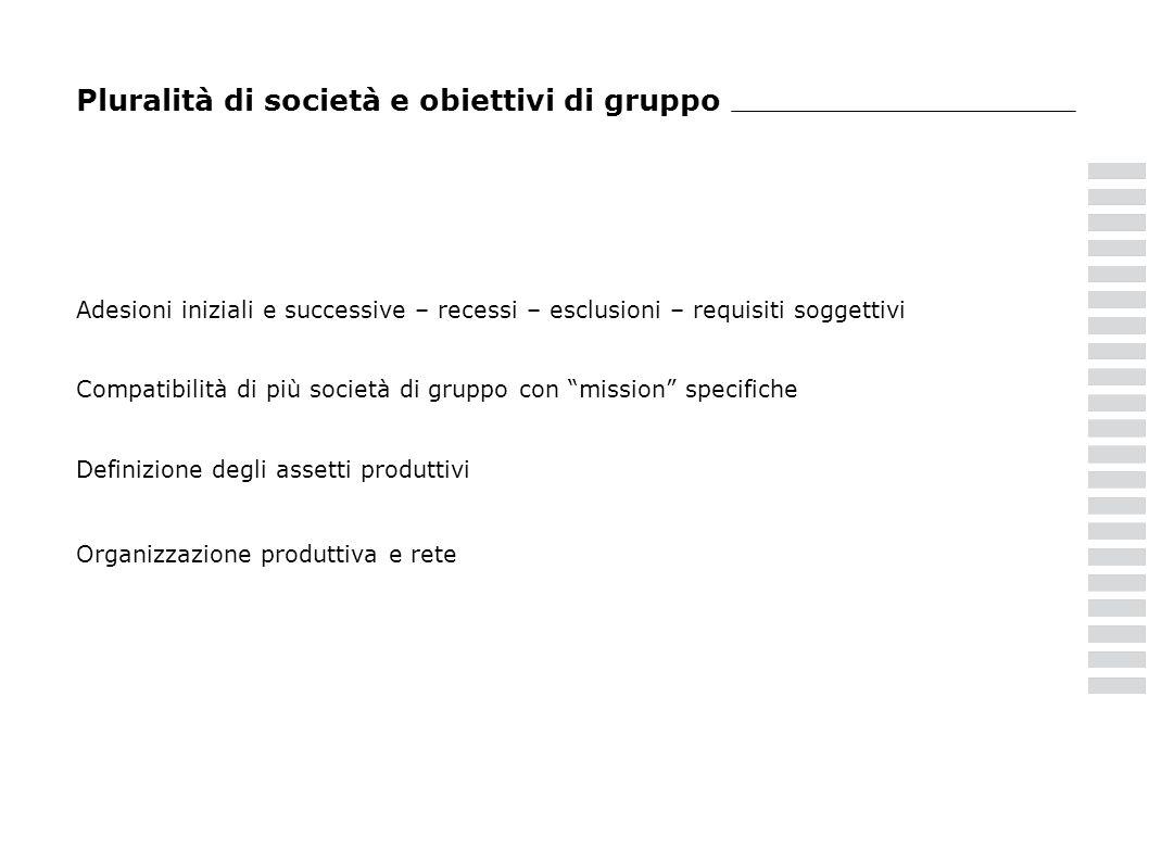 Pluralità di società e obiettivi di gruppo Adesioni iniziali e successive – recessi – esclusioni – requisiti soggettivi Compatibilità di più società d