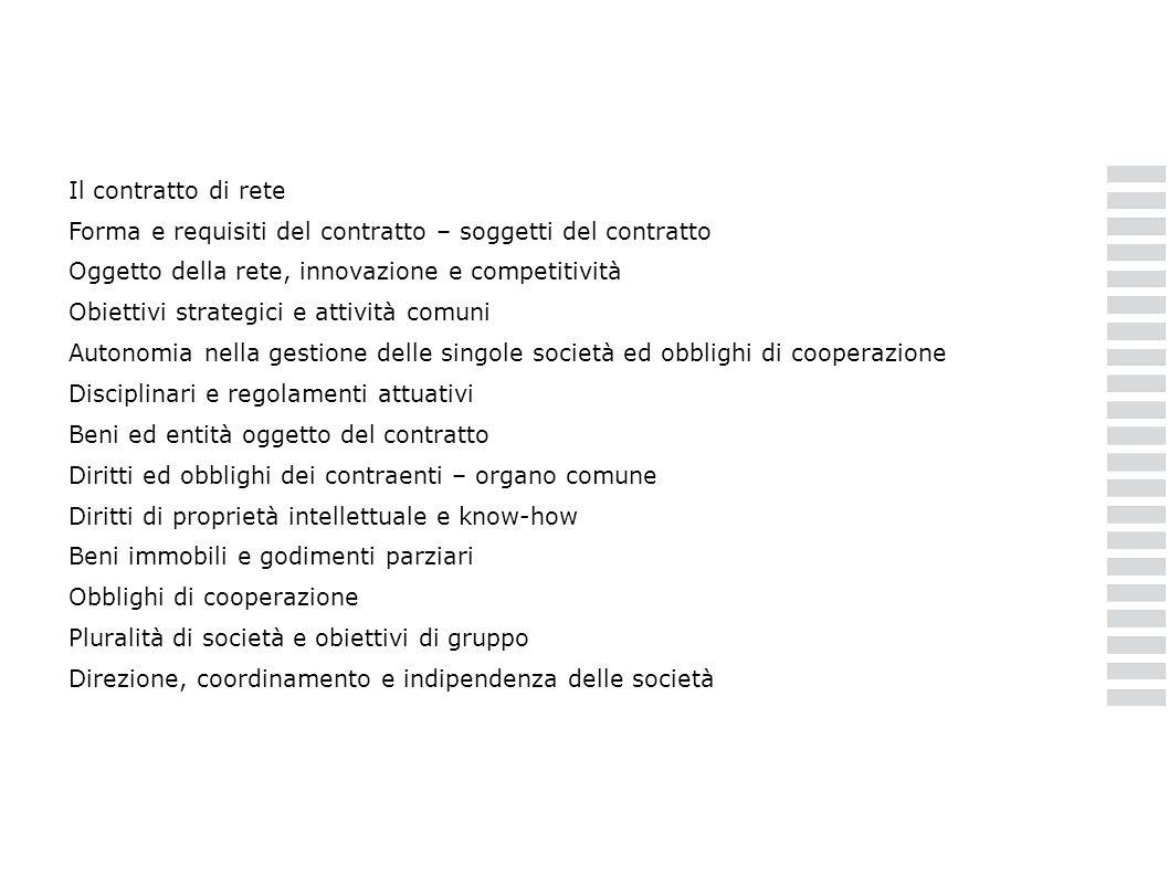 Il contratto di rete Forma e requisiti del contratto – soggetti del contratto Oggetto della rete, innovazione e competitività Obiettivi strategici e a