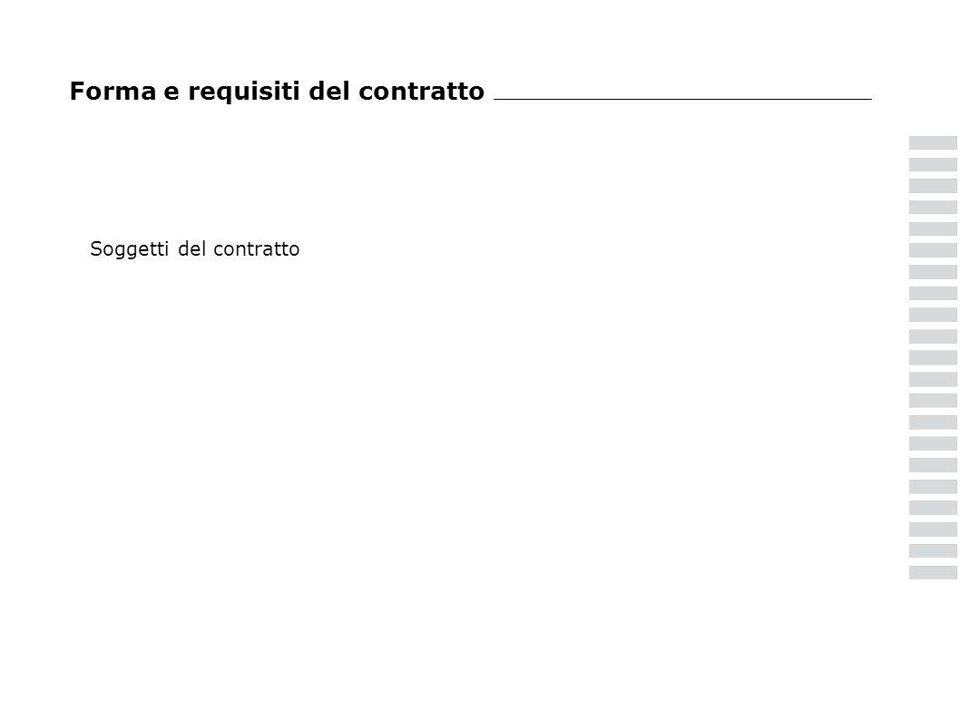Forma e requisiti del contratto Soggetti del contratto